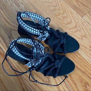 Black strappy sandals/heels